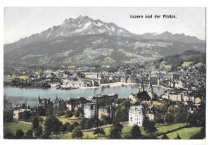 Switzerland Luzern Pilatus Swiss Alps Panoramic View Postcar