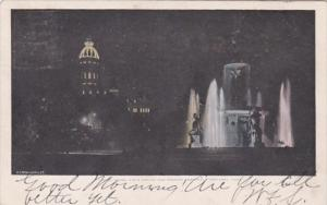 Connecticut Hartford State Capitol and Corning Fountain At Night 1904