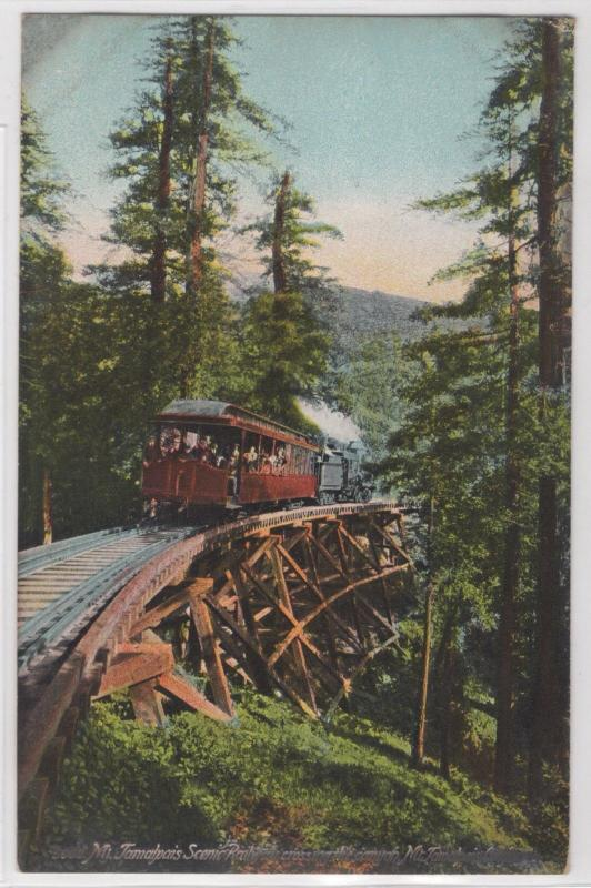 Mt. Tamalpais Scenic Railway Crossing Canyon Full Color View Rare Postcard