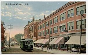 Westerly RI High Street View Store Fronts Trolley Postcard