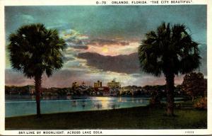 Florida Orlando Skyline By Moonlight 1928 Curteich