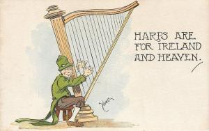 Artist Young~Irishman Strums~Pipe In Green Hat~Harps Are For Ireland And Heaven