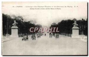 Old Postcard Paris L & # 39Avenue the Champs Elysees and the Chevaux de Marly