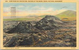 Big Crater Rim Craters of the Moon National Monument c1965 Linen Postcard F2