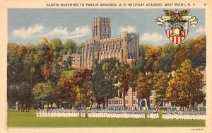 Cadets Marching to Parade Grounds West Point, New York Postcard