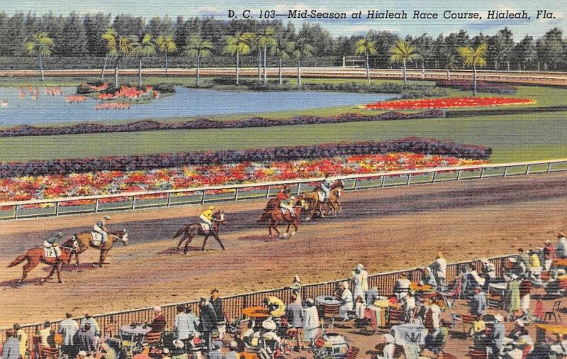 Hialeah Florida~Hialeah Race Course~Horses on Track Down Stretch~1950 Linen PC