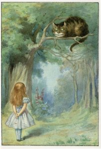 Cheshire Cat Alice in Wonderland Old 1911 Book Postcard