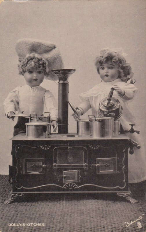DOLLY'S KITCHEN, Dolls at a Stove, PU-1905; TUCK # 6580