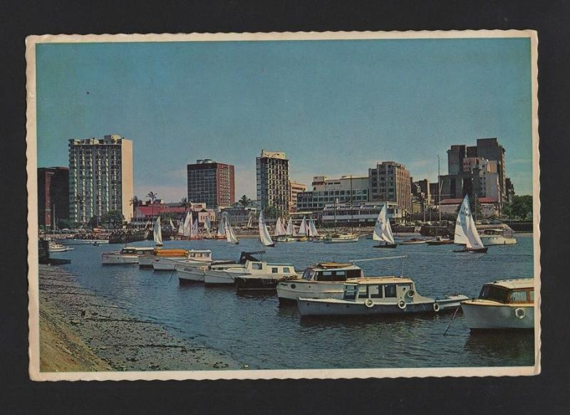 SOUTH AFRICA DURBAN YACHT BASIN postcard stamp year 1967 SUID AFRIKA z1