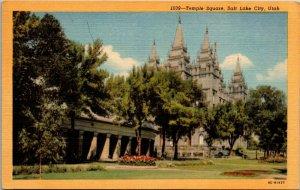 Temple Square Salt Lake City Utah - LINEN - VINTAGE - SLC - Postcard