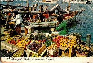 Nassau Bahamas Water Front Market Fruits Boats Chrome Postcard
