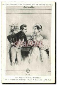 Old Postcard Costume Twelve months of spring & # 39annee Toilets Gavarni