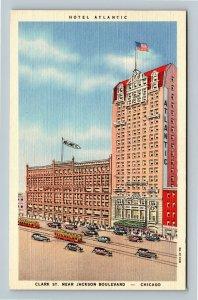 Chicago IL, Hotel Atlantic, Linen Illinois c1943 Postcard