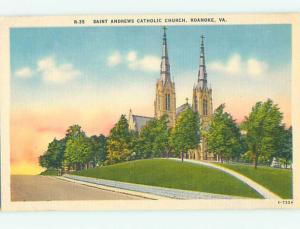 Unused Linen CHURCH SCENE Roanoke Virginia VA hs7355