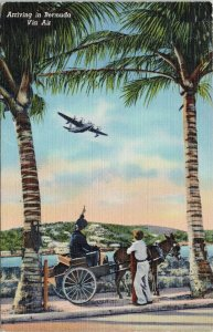 Airplane 'Arriving in Bermuda via Air' c1947 Linen Yankee Store Postcard F93