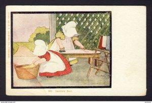 SUNBONNET GIRL GIRLS - ironing, folding clothes - IRONING DAY