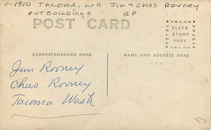 C-1910 Tacoma Washington Rovney Out Buildings RPPC Photo Postcard 20-8304
