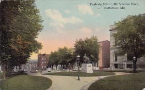 Maryland Baltimore Peabody Statur Mount Vernon Place 1913