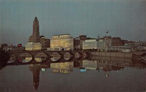 Columbus Ohio~Civic Center Night Lights Reflect Sciota River~City Skyline~1971