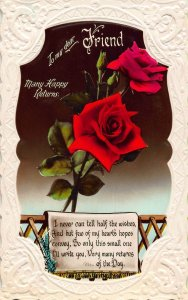 To my Dear Friend Many Happy Returns Red Roses Flowers Postcard