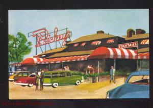 PALO ALTO CALIFORNIA RICKEY'S RESTAURANT OLD CARS VINTAGE ADVERTISING POSTCARD