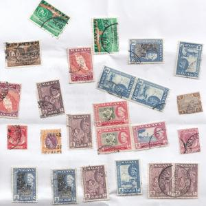 Malaya 24 Stamp Bundle From Military Collection Loose Mixed