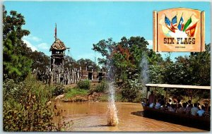 1960s SIX FLAGS OVER TEXAS Amusement Park Postcard TAKE COVER! P43964 Unused