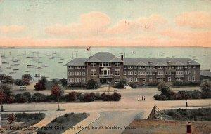South Boston Yacht Club, South Boston, MA., Early Postcard, Used