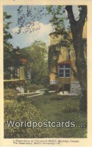 The Observatory, McGIll University Montreal Canada Unused