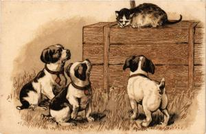 CPA AK Puppies and the cat, illustration DOGS (727300)