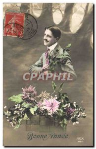 Postcard Old Man Fancy Happy New Year