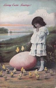 Loving Easter Greetings!, Girl pointing at chicks standing on exagerated larg...