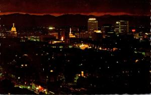 Colorado Denver Downtown Panorama At Night