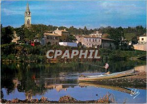 Modern Postcard Sainte Foy La Grande Rives Dordogne Fishing