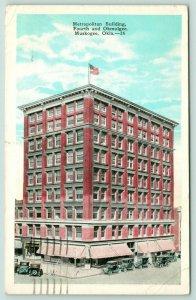 Muskogee Oklahoma~Metropolitan Building~4th & Okmulgee~Drug Store~1920s Cars
