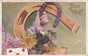 Best Wishes Hand Holding Horseshoe 1908