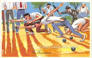 Old Vintage Lawn Bowling Postcard Post Card Le Champion Writing on back