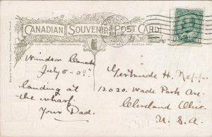 Ferry Landing Windsor Ontario ON Ont Patriotic c1909 Marentette Postcard F50