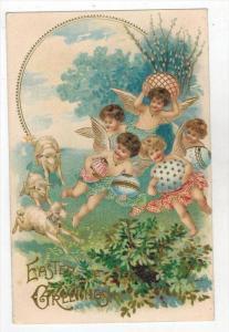 Angel  Children  holding Eggs flying over  Sheep