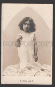 107504 Charming Girl in NIGHTY w/ LONG HAIR Vintage PHOTO PC