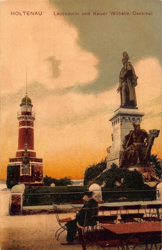 Holtenau Leuchtturm und Kaiser Wilhelm Denkmal Statue Lighthouse Postcard