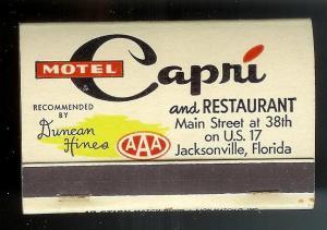 CAPRI MOTEL RESTAURANT 1950's Full Unstruck Matchbook
