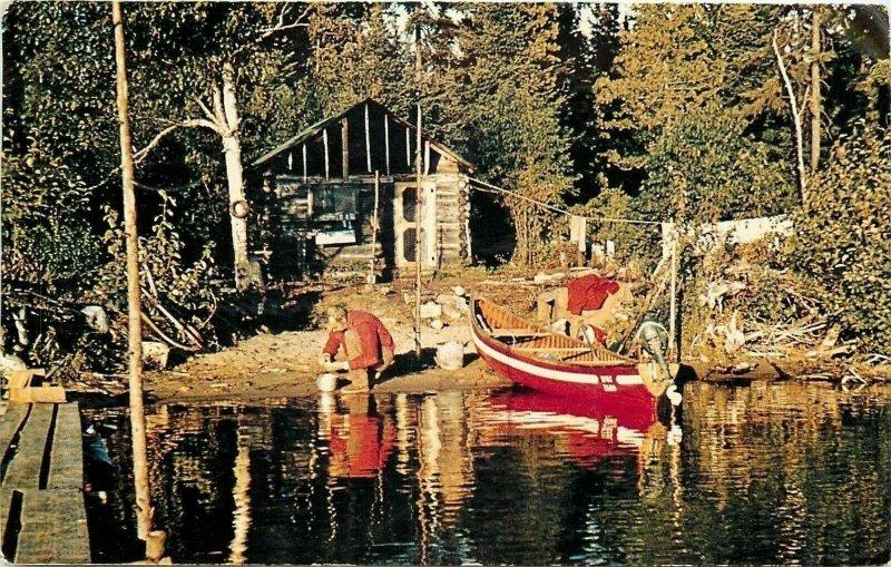 Camp Robinson Ontario~Johnson's Cedar Lake Camp~Scrubbing Potatoes~Outboard~1965