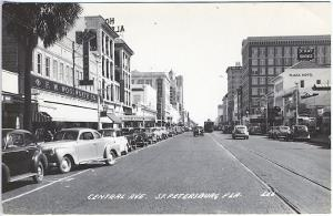 St Petersburg FL Central Ave Woolworth's Cars Trolley Real Photo RPPC Postcard