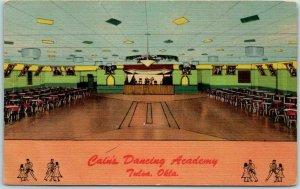 TULSA, Oklahoma Postcard CAIN'S DANCING ACADEMY Dance Floor View Curteich Linen