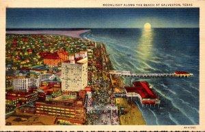 Texas Galveston Moonlight Along The Beach 1941 Curteich