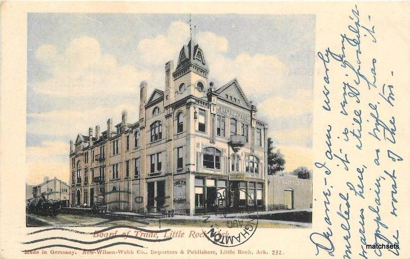 1906 Board of Trade Little Rock Arkansas New Wilson Webb postcard 4455