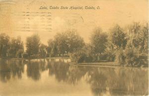 Toledo Ohio State Hospital Lake 1908 Sepia Postcard