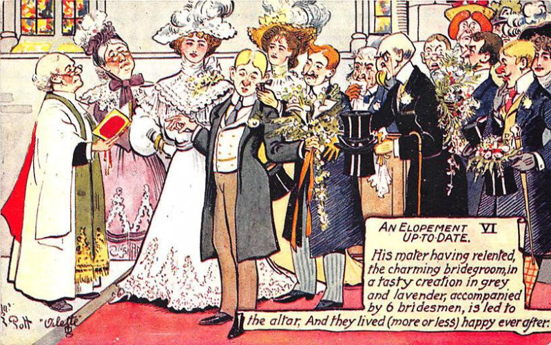 Raphael Tuck An Elopement Up-To-Date Signed Charles Pett Postcard 6