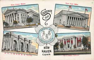 Four Views of New Haven, Connecticut, Early Postcard, Unused